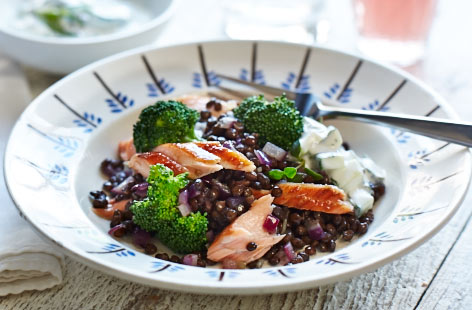 Citrus Salmon with Superfood Salad and Puy Lentils