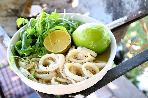 Chilli Salt and Pepper Squid with Rocket