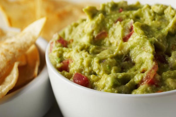 Home made guacamole with crudites