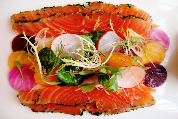 Hot Beet, Trout and Watercress Salad